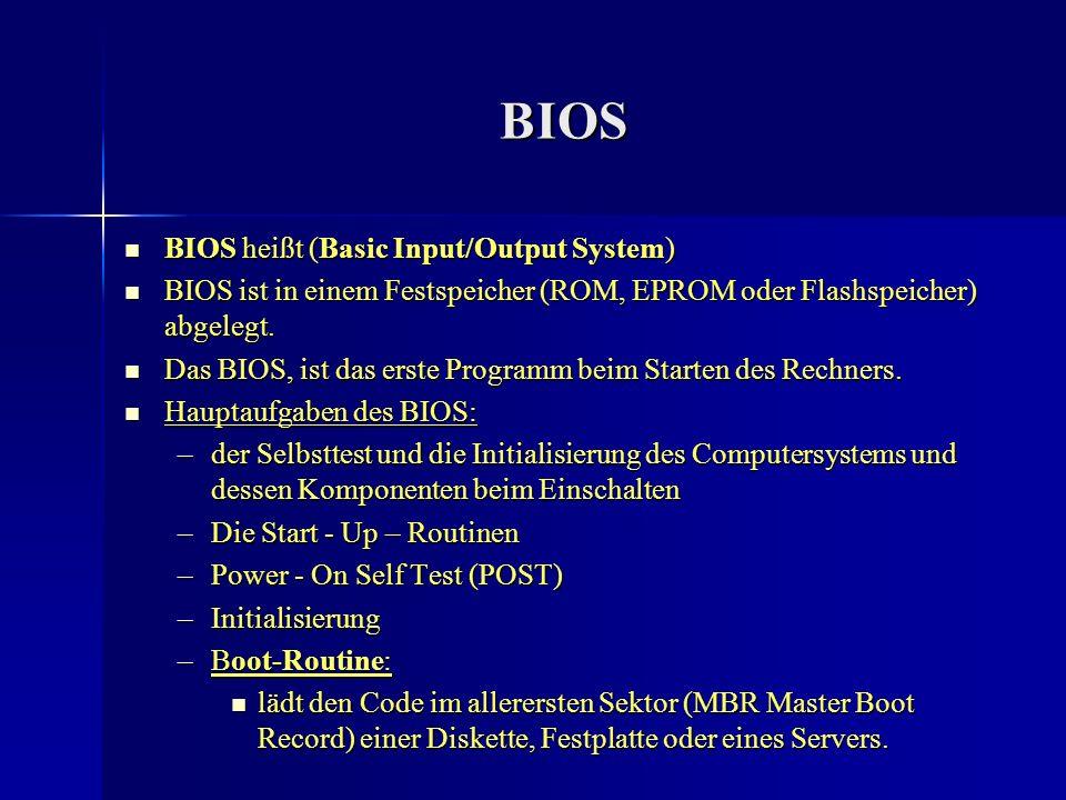 BIOS BIOS heißt (Basic Input/Output System) BIOS heißt (Basic Input/Output System) BIOS ist in einem Festspeicher (ROM, EPROM oder Flashspeicher) abge