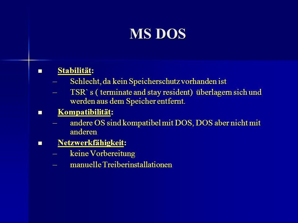 MS DOS Stabilität: Stabilität: –Schlecht, da kein Speicherschutz vorhanden ist –TSR` s ( terminate and stay resident) überlagern sich und werden aus d