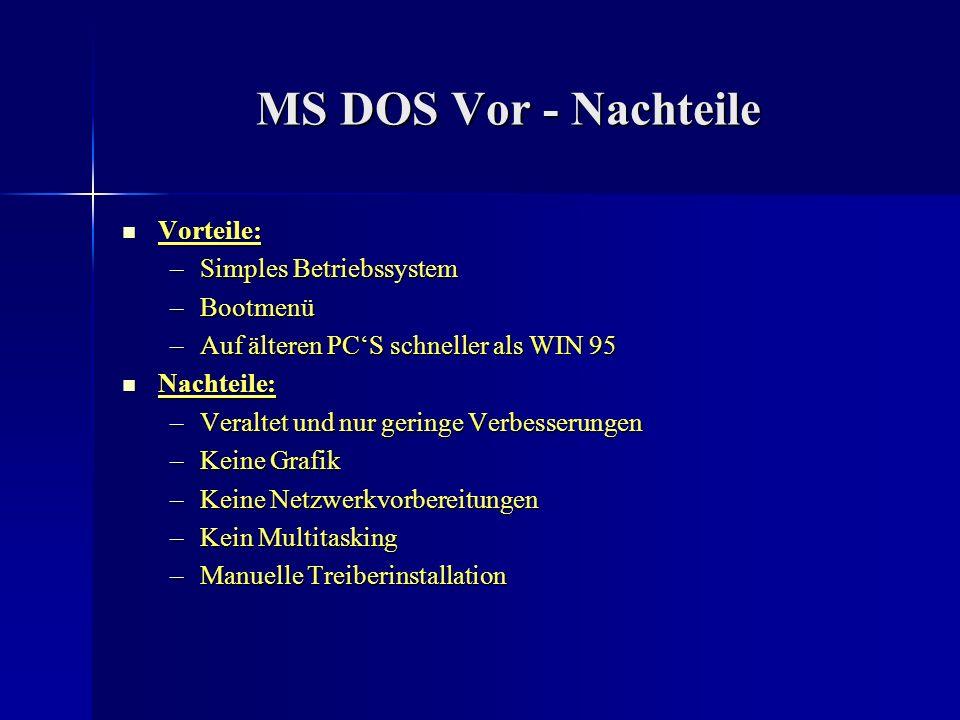 OS/2 Stabilität: Stabilität: –stabiles und absturzsicheres System, weshalb es auch von großen Firmen und Banken benutzt wird –Stabilitätsprobleme durch falsche Treiberinstallationen Kompatibilität: Kompatibilität: –kompatibel zu allen DOS und Windows 3.x Programmen, außer zu WIN 95 Programmen –kompatibel mit Windows 3.1/3.11, DOS 4.0 und höher sowie allen vorhergehenden OS/2 Versionen Netzwerkfähigkeit: Netzwerkfähigkeit: –als Netzwerkbetriebssystem wird OS/2 Server benötigt –Dateisystemrouter sorgen dafür, dass Netzwerkdienste an einer OS/2 Workstation zur Verfügung stehen.
