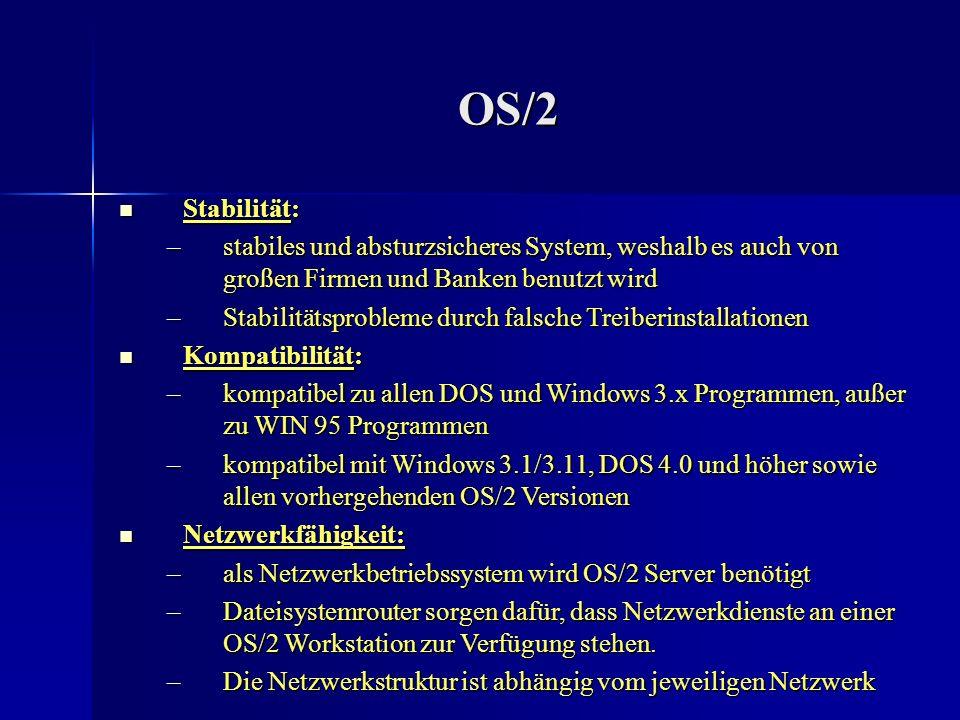 OS/2 Filesystem Filesystem: Filesystem: –unterstützt FAT (File Allocation Table) und HPFS ( High- Performance-File-System) –HPFS 386 ist eine ursprünglich für den OS/2 Server geschriebene Weiterentwicklung von HPFS –mit HPFS 386 lassen sich benutzerspezifische Zugriffsrechte für Dateien und Verzeichnisse zuordnen