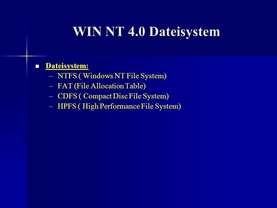 WIN 95 Stabilität Stabilität –mehrere Programme können gleichzeitig laufen ohne den Computer zum Absturz zu bringen –instabil durch MS-DOS Start Kompatibilität: Kompatibilität: –falls ein Gerät nicht mit Win95 kompatibel ist, werden die Treiber vom Hersteller mitgeliefert –sehr kompatibel zu den meisten Programmen Netzwerkfähigkeit: Netzwerkfähigkeit: –kompatibel mit allen anderen Netzwerken –Protokolle wie IPX und ICP/IP sind im System integriert –durch den DOS-ODI-Treiber steigt die Anzahl der Netzprobleme