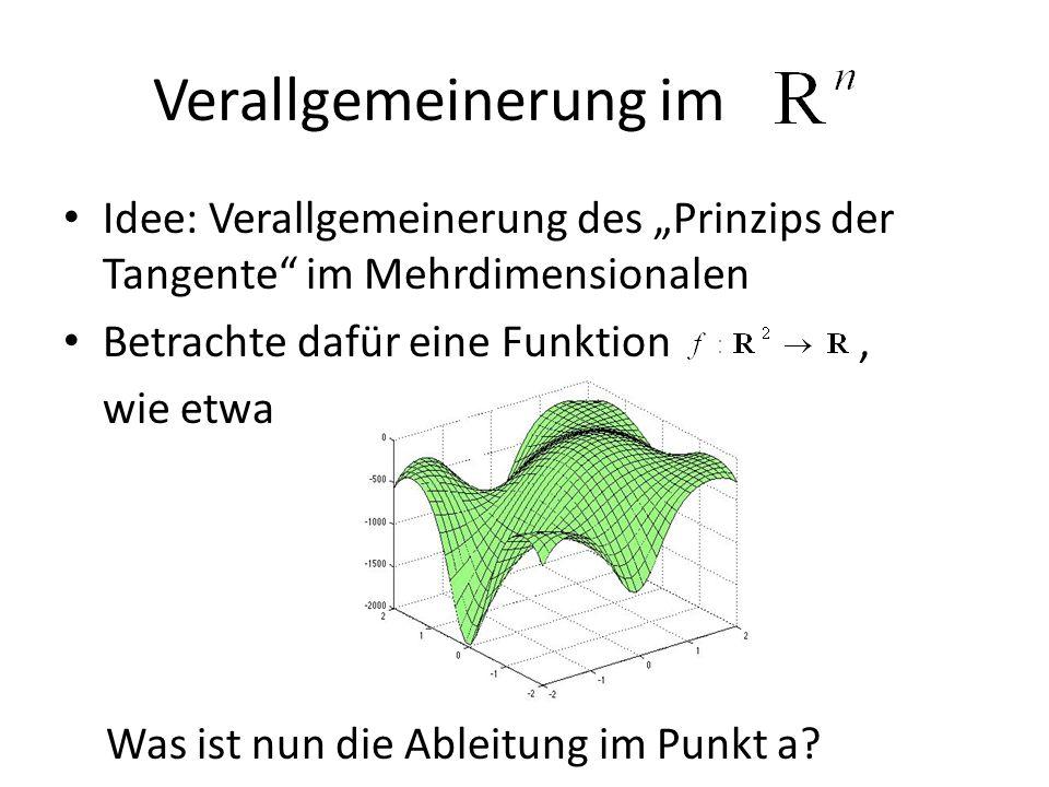 Verallgemeinerung im Idee: Verallgemeinerung des Prinzips der Tangente im Mehrdimensionalen Betrachte dafür eine Funktion, wie etwa Was ist nun die Ab