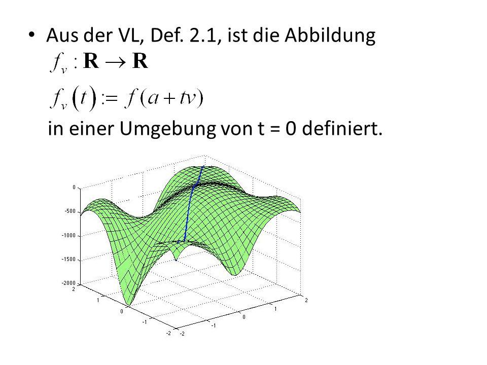 Der blaue Strahl (also die Abbildung ) ist im Endeffekt eindimensional Die Ableitung von an der Stelle 0 nennt man die Richtungsableitung von f bei a in Richtung v.
