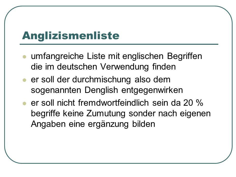 Anglizismenliste umfangreiche Liste mit englischen Begriffen die im deutschen Verwendung finden er soll der durchmischung also dem sogenannten Denglish entgegenwirken er soll nicht fremdwortfeindlich sein da 20 % begriffe keine Zumutung sonder nach eigenen Angaben eine ergänzung bilden