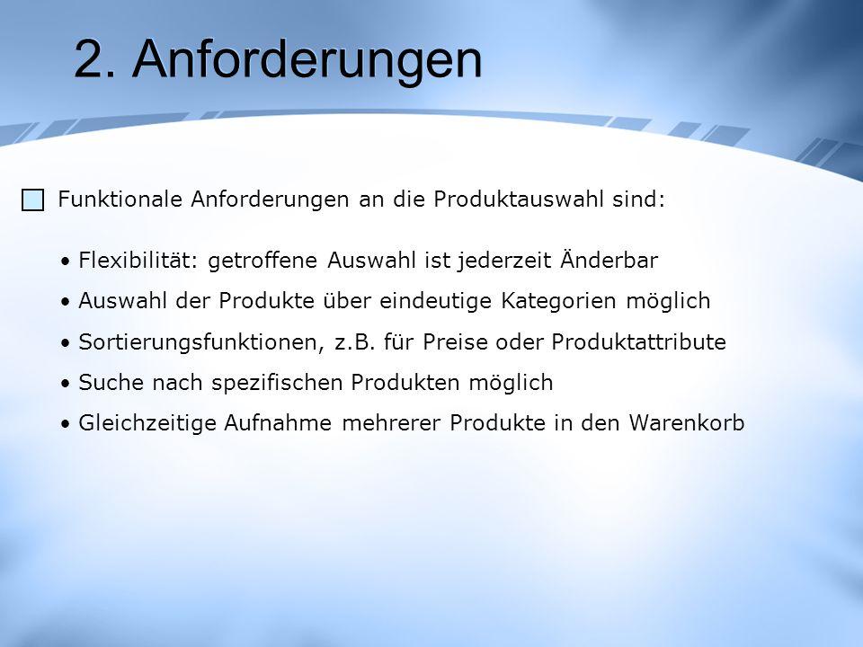 2. Anforderungen Funktionale Anforderungen an die Produktauswahl sind: Flexibilität: getroffene Auswahl ist jederzeit Änderbar Auswahl der Produkte üb