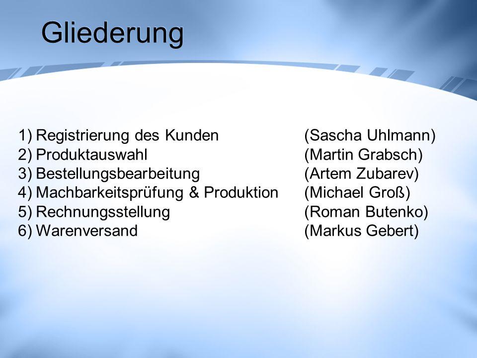 Gliederung 1)Registrierung des Kunden (Sascha Uhlmann) 2)Produktauswahl (Martin Grabsch) 3)Bestellungsbearbeitung(Artem Zubarev) 4)Machbarkeitsprüfung