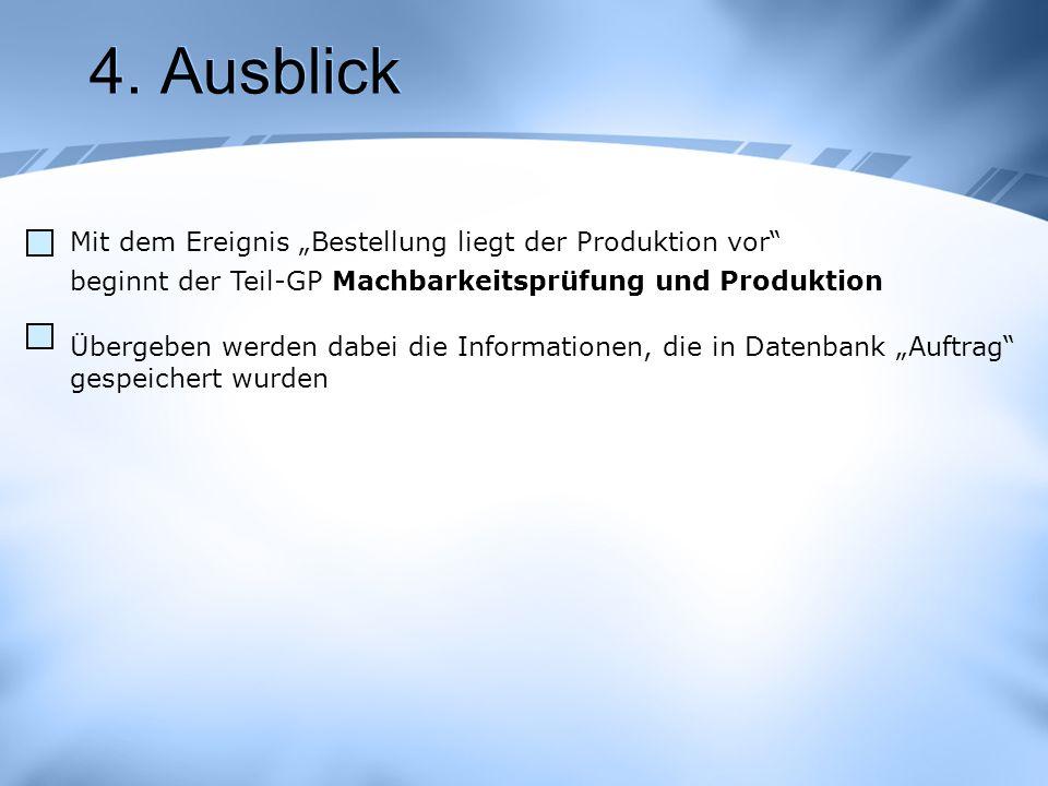 4. Ausblick Mit dem Ereignis Bestellung liegt der Produktion vor beginnt der Teil-GP Machbarkeitsprüfung und Produktion Übergeben werden dabei die Inf