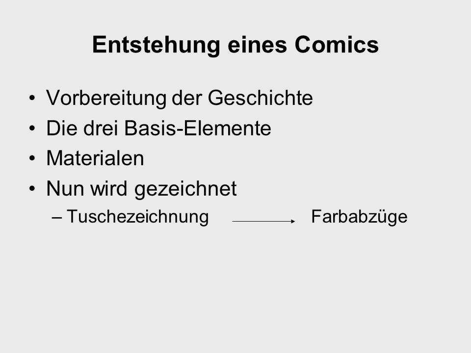 Entstehung eines Comics Vorbereitung der Geschichte Die drei Basis-Elemente Materialen Nun wird gezeichnet –Tuschezeichnung Farbabzüge