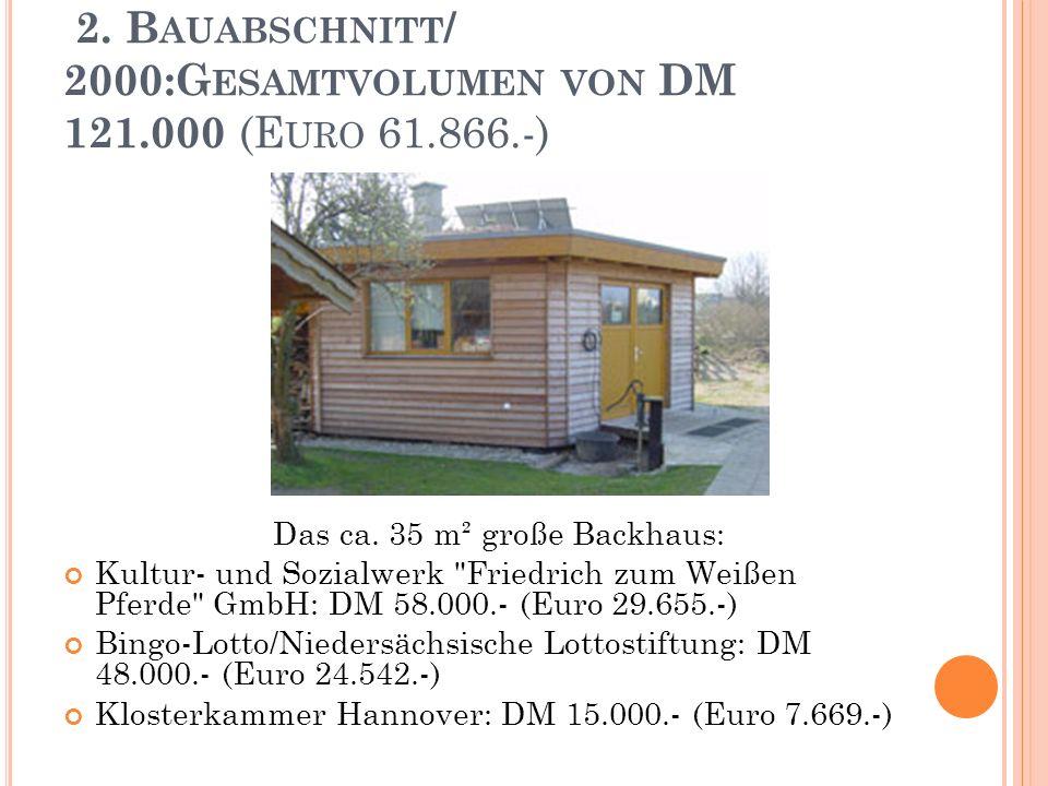 2. B AUABSCHNITT / 2000:G ESAMTVOLUMEN VON DM 121.000 (E URO 61.866.-) Das ca.