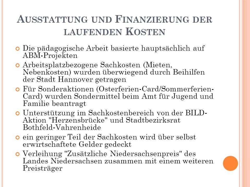 A USSTATTUNG UND F INANZIERUNG DER LAUFENDEN K OSTEN Die pädagogische Arbeit basierte hauptsächlich auf ABM-Projekten Arbeitsplatzbezogene Sachkosten (Mieten, Nebenkosten) wurden überwiegend durch Beihilfen der Stadt Hannover getragen Für Sonderaktionen (Osterferien-Card/Sommerferien- Card) wurden Sondermittel beim Amt für Jugend und Familie beantragt Unterstützung im Sachkostenbereich von der BILD- Aktion Herzensbrücke und Stadtbezirksrat Bothfeld-Vahrenheide ein geringer Teil der Sachkosten wird über selbst erwirtschaftete Gelder gedeckt Verleihung Zusätzliche Niedersachsenpreis des Landes Niedersachsen zusammen mit einem weiteren Preisträger