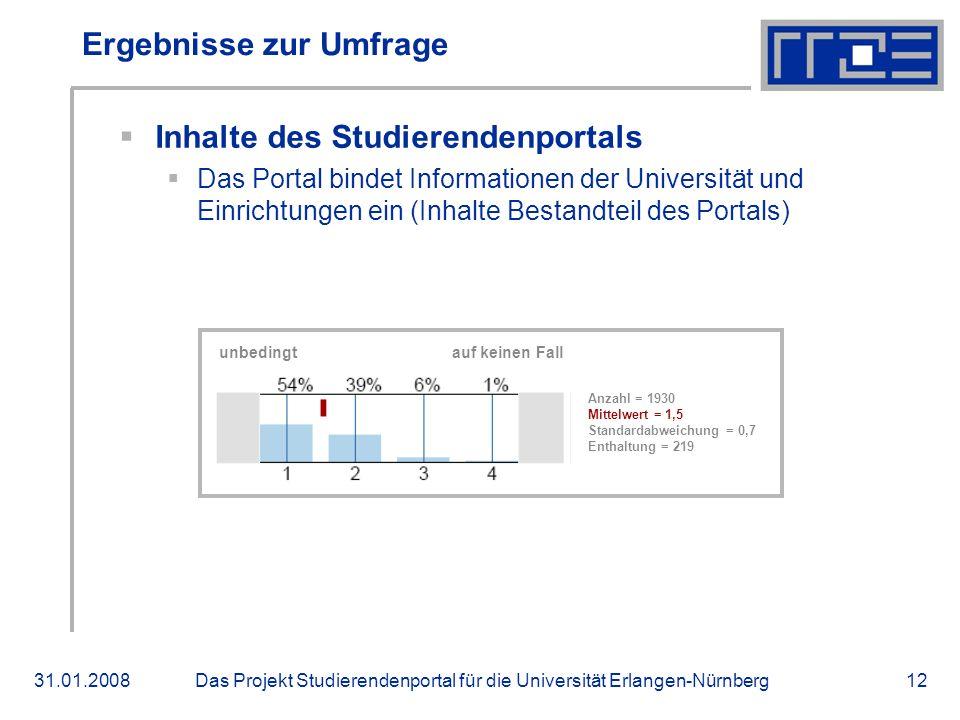 Das Projekt Studierendenportal für die Universität Erlangen-Nürnberg31.01.200812 Ergebnisse zur Umfrage Inhalte des Studierendenportals Das Portal bindet Informationen der Universität und Einrichtungen ein (Inhalte Bestandteil des Portals) unbedingt auf keinen Fall Anzahl = 1930 Mittelwert = 1,5 Standardabweichung = 0,7 Enthaltung = 219