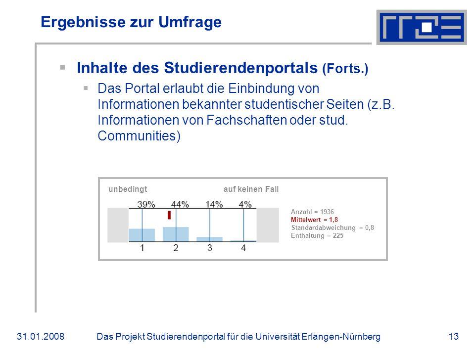 Das Projekt Studierendenportal für die Universität Erlangen-Nürnberg31.01.200813 Ergebnisse zur Umfrage Inhalte des Studierendenportals (Forts.) Das Portal erlaubt die Einbindung von Informationen bekannter studentischer Seiten (z.B.