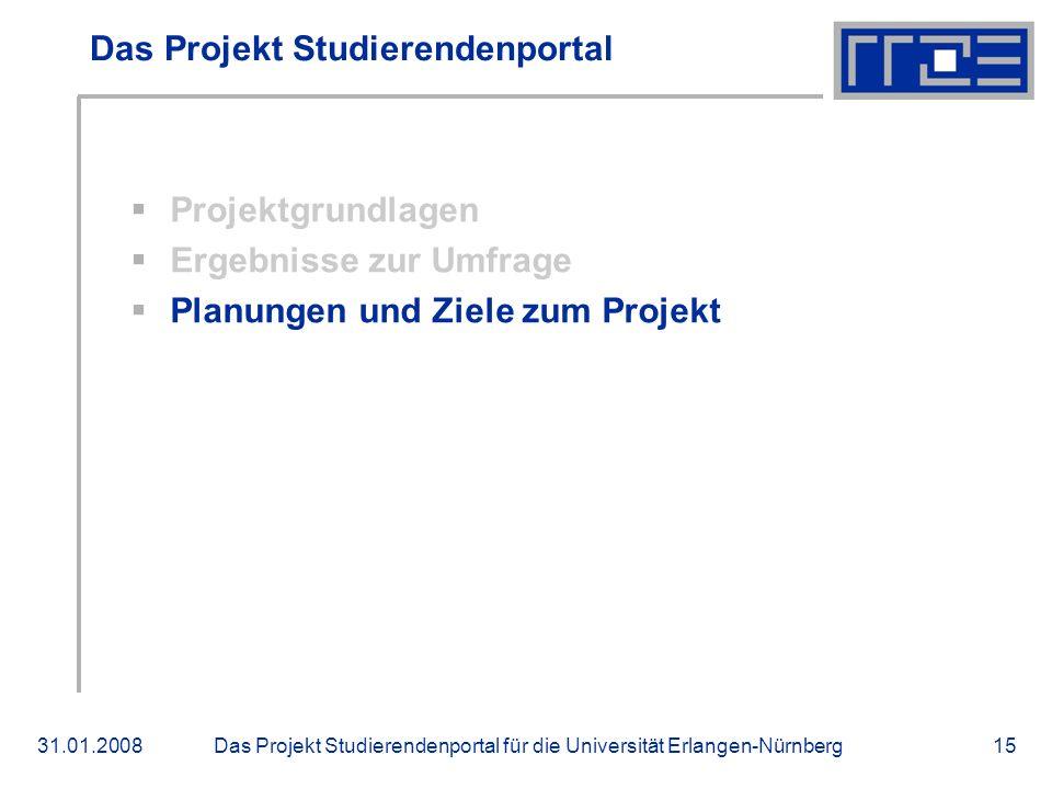 Das Projekt Studierendenportal für die Universität Erlangen-Nürnberg31.01.200815 Das Projekt Studierendenportal Projektgrundlagen Ergebnisse zur Umfrage Planungen und Ziele zum Projekt