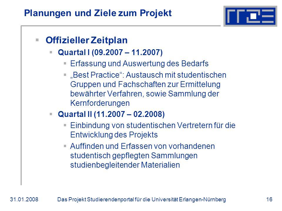 Das Projekt Studierendenportal für die Universität Erlangen-Nürnberg31.01.200816 Planungen und Ziele zum Projekt Offizieller Zeitplan Quartal I (09.20