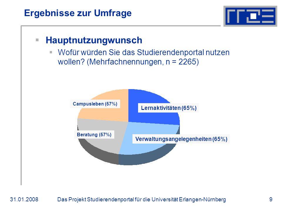Das Projekt Studierendenportal für die Universität Erlangen-Nürnberg31.01.20089 Ergebnisse zur Umfrage Hauptnutzungwunsch Wofür würden Sie das Studier