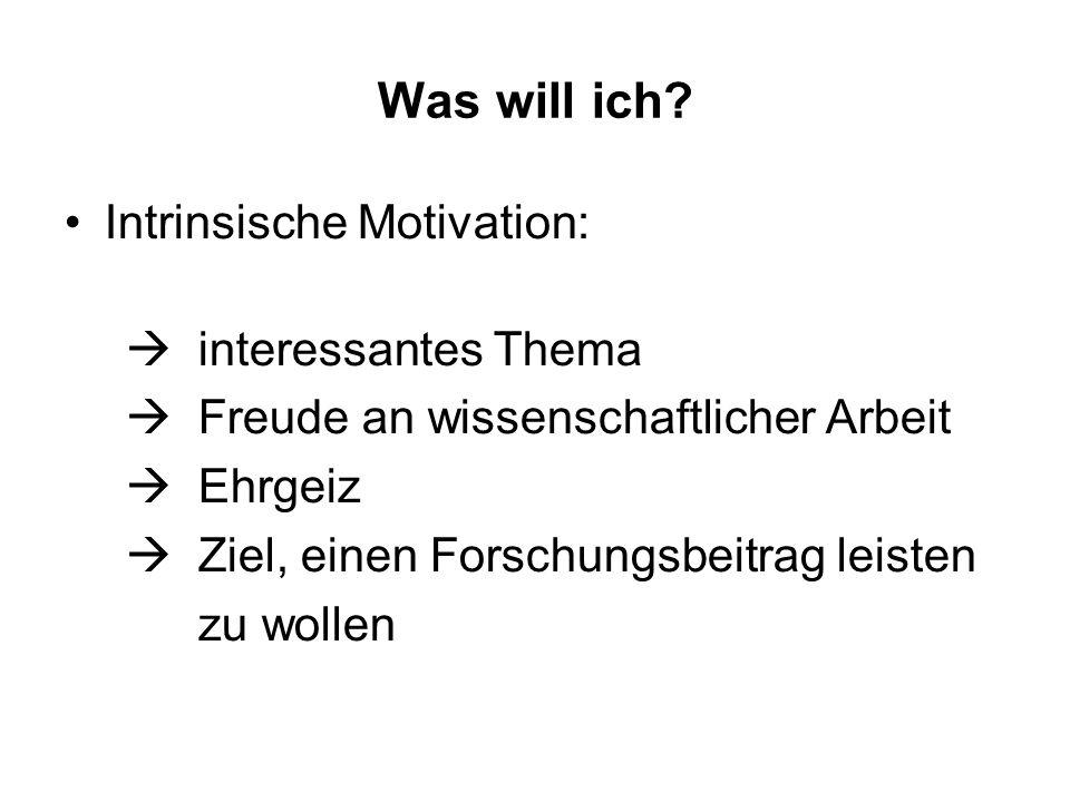 Was will ich? Intrinsische Motivation: interessantes Thema Freude an wissenschaftlicher Arbeit Ehrgeiz Ziel, einen Forschungsbeitrag leisten zu wollen