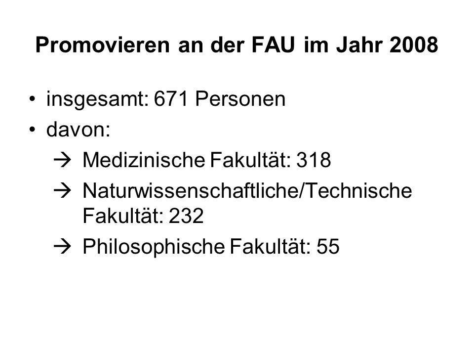 Promovieren an der FAU im Jahr 2008 insgesamt: 671 Personen davon: Medizinische Fakultät: 318 Naturwissenschaftliche/Technische Fakultät: 232 Philosop