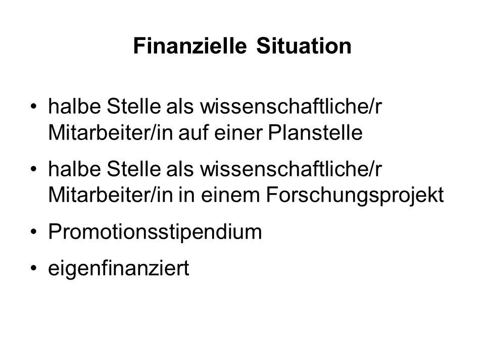 Finanzielle Situation halbe Stelle als wissenschaftliche/r Mitarbeiter/in auf einer Planstelle halbe Stelle als wissenschaftliche/r Mitarbeiter/in in