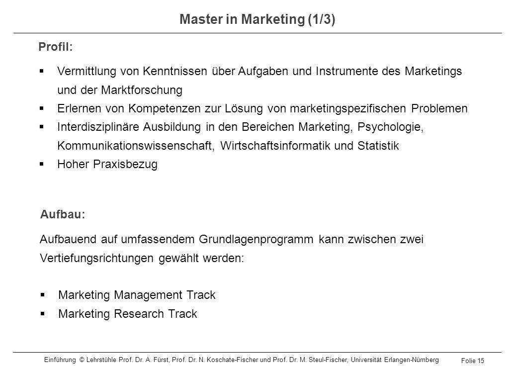 Vermittlung von Kenntnissen über Aufgaben und Instrumente des Marketings und der Marktforschung Erlernen von Kompetenzen zur Lösung von marketingspezi