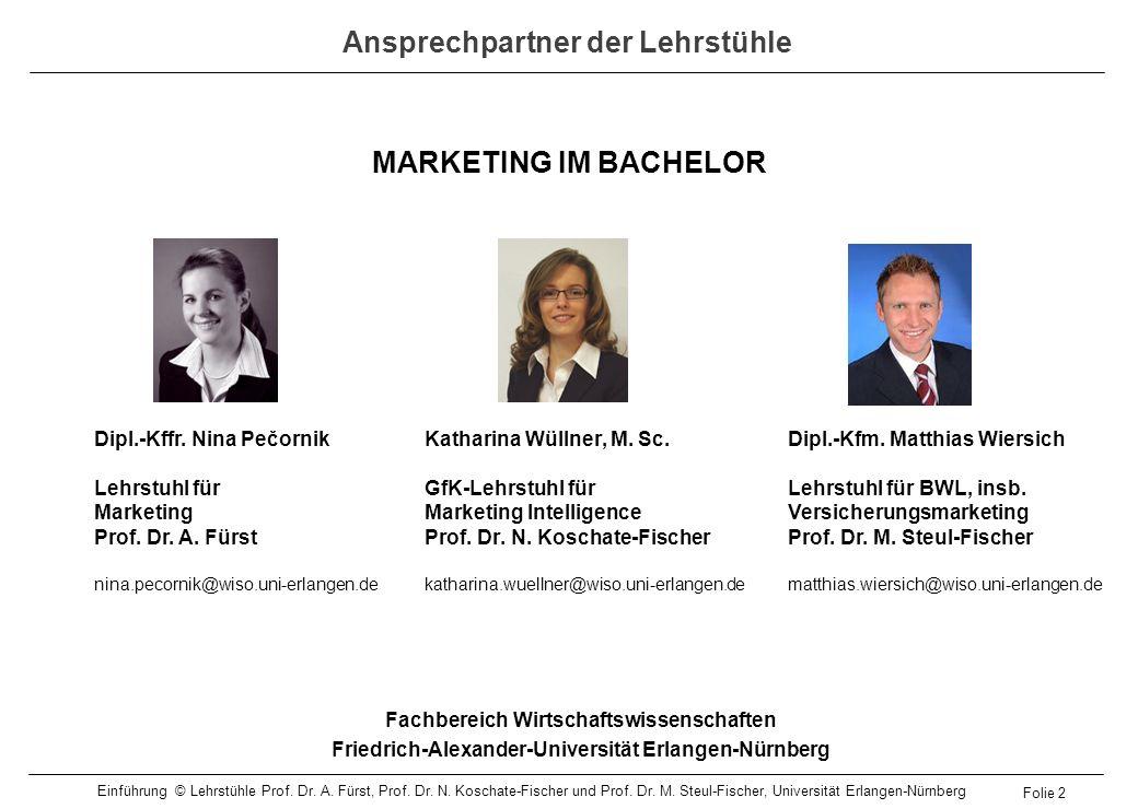 MARKETING IM BACHELOR Fachbereich Wirtschaftswissenschaften Friedrich-Alexander-Universität Erlangen-Nürnberg Dipl.-Kffr. Nina Pečornik Lehrstuhl für