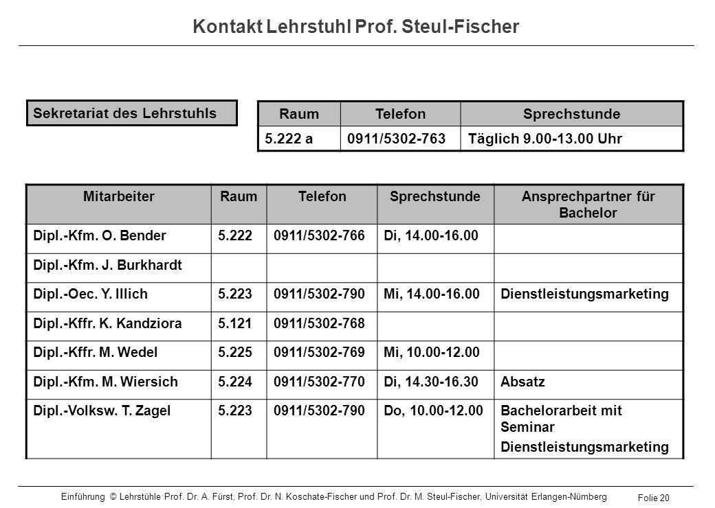 Kontakt Lehrstuhl Prof. Steul-Fischer MitarbeiterRaumTelefonSprechstundeAnsprechpartner für Bachelor Dipl.-Kfm. O. Bender5.2220911/5302-766Di, 14.00-1