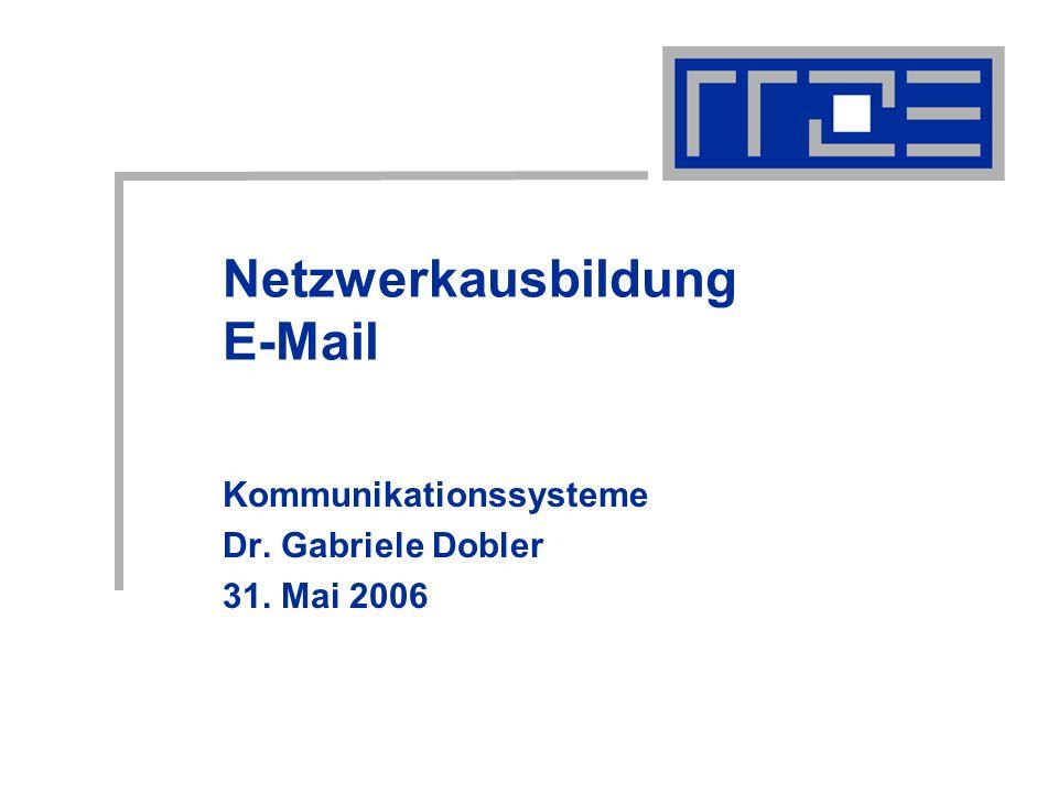 31.05.2006Netzwerkausbildung E-Mail12 FAUMail: Filtermöglichkeiten Zustellfilter: werden beim Eintreffen der E-Mail am Server faumail.uni-erlangen.de ausgewertet ermöglichen das Speichern in serverseitigen Ordnern; Automatische Weiterleitung, Automatische Antwort, Automatisches Löschen, Automatische Zurückweisung.