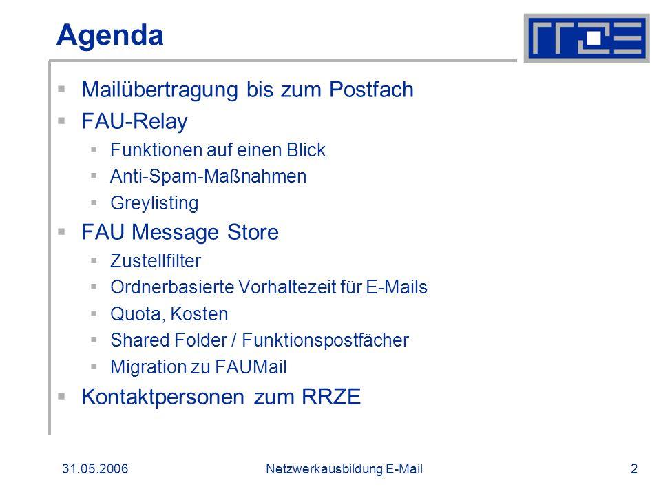 31.05.2006Netzwerkausbildung E-Mail2 Agenda Mailübertragung bis zum Postfach FAU-Relay Funktionen auf einen Blick Anti-Spam-Maßnahmen Greylisting FAU