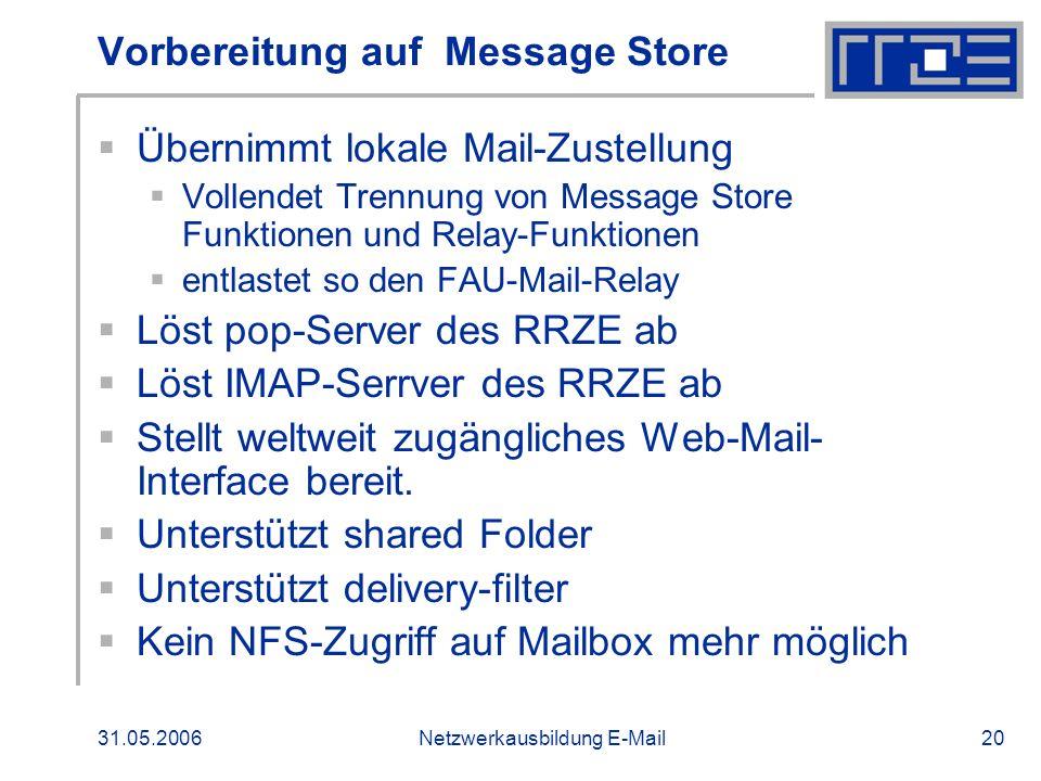 31.05.2006Netzwerkausbildung E-Mail20 Vorbereitung auf Message Store Übernimmt lokale Mail-Zustellung Vollendet Trennung von Message Store Funktionen