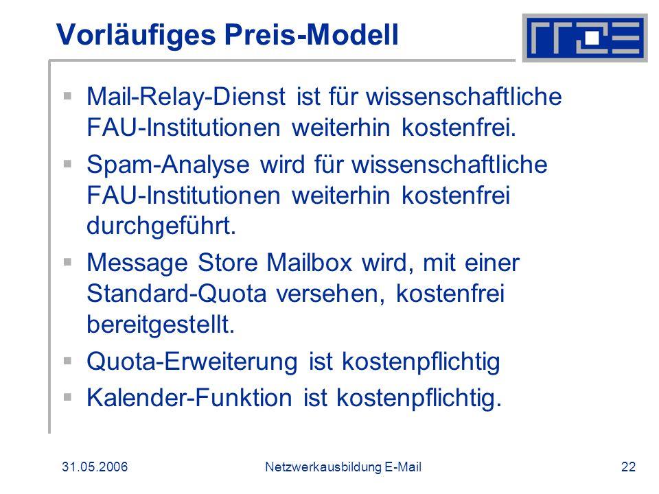 31.05.2006Netzwerkausbildung E-Mail22 Vorläufiges Preis-Modell Mail-Relay-Dienst ist für wissenschaftliche FAU-Institutionen weiterhin kostenfrei. Spa