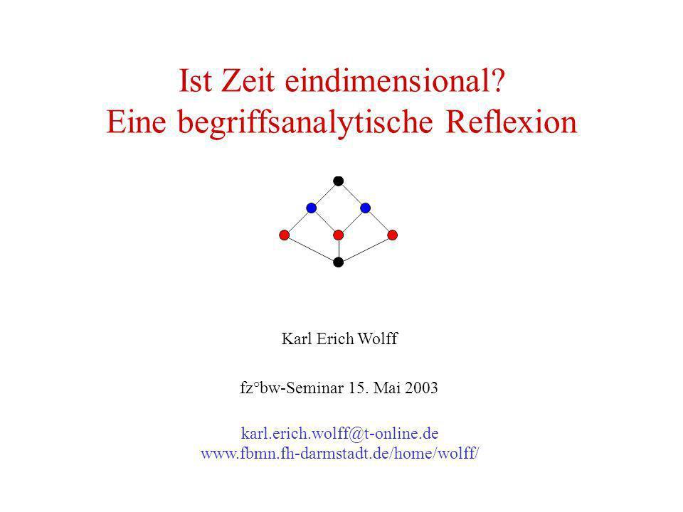 Ist Zeit eindimensional? Eine begriffsanalytische Reflexion Karl Erich Wolff fz°bw-Seminar 15. Mai 2003 karl.erich.wolff@t-online.de www.fbmn.fh-darms