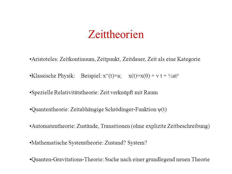 Zeittheorien Aristoteles: Zeitkontinuum, Zeitpunkt, Zeitdauer, Zeit als eine Kategorie Klassische Physik: Beispiel: x(t)=a; x(t)=x(0) + v t + ½at² Spe