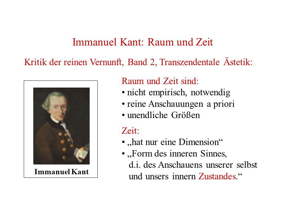 Immanuel Kant: Raum und Zeit Kritik der reinen Vernunft, Band 2, Transzendentale Ästetik: Immanuel Kant Raum und Zeit sind: nicht empirisch, notwendig