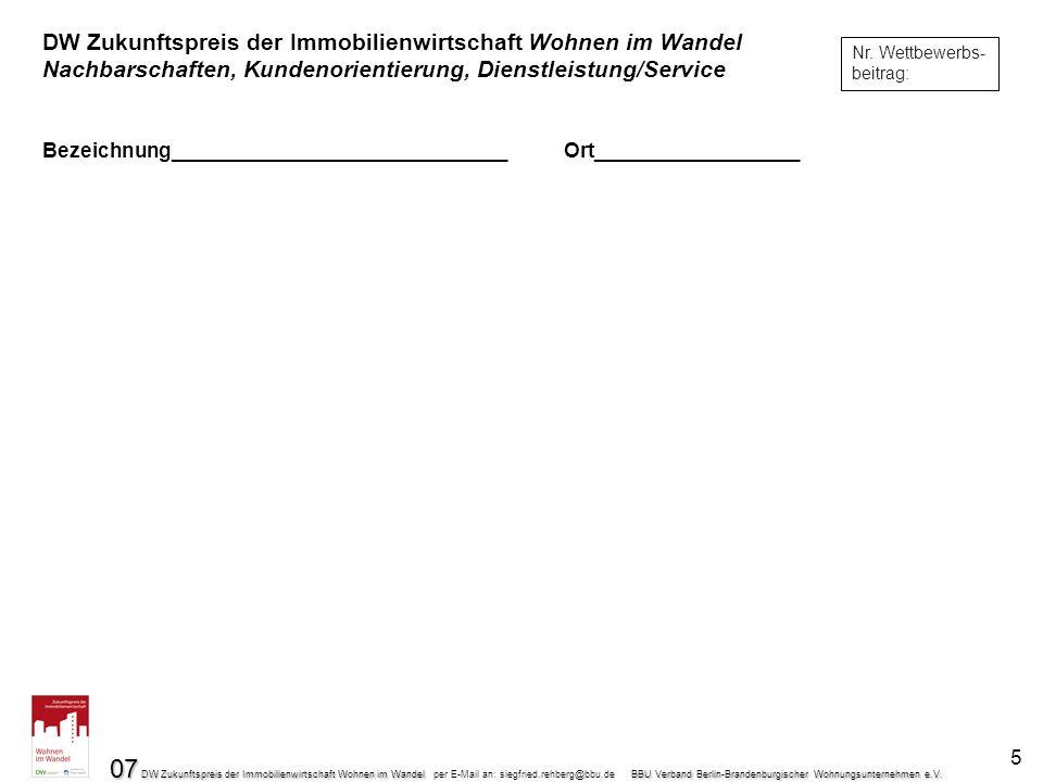 07 DW Zukunftspreis der Immobilienwirtschaft Wohnen im Wandel BBU Verband Berlin-Brandenburgischer Wohnungsunternehmen e.V.
