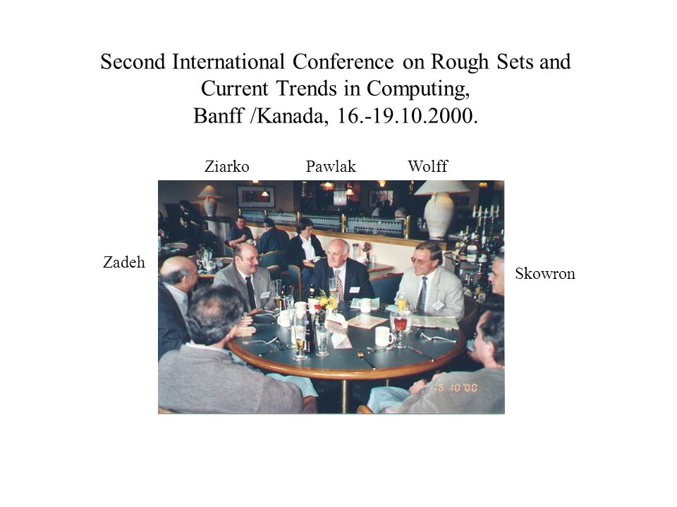 Second International Conference on Rough Sets and Current Trends in Computing, Banff /Kanada, 16.-19.10.2000. Zadeh ZiarkoPawlakWolff Skowron