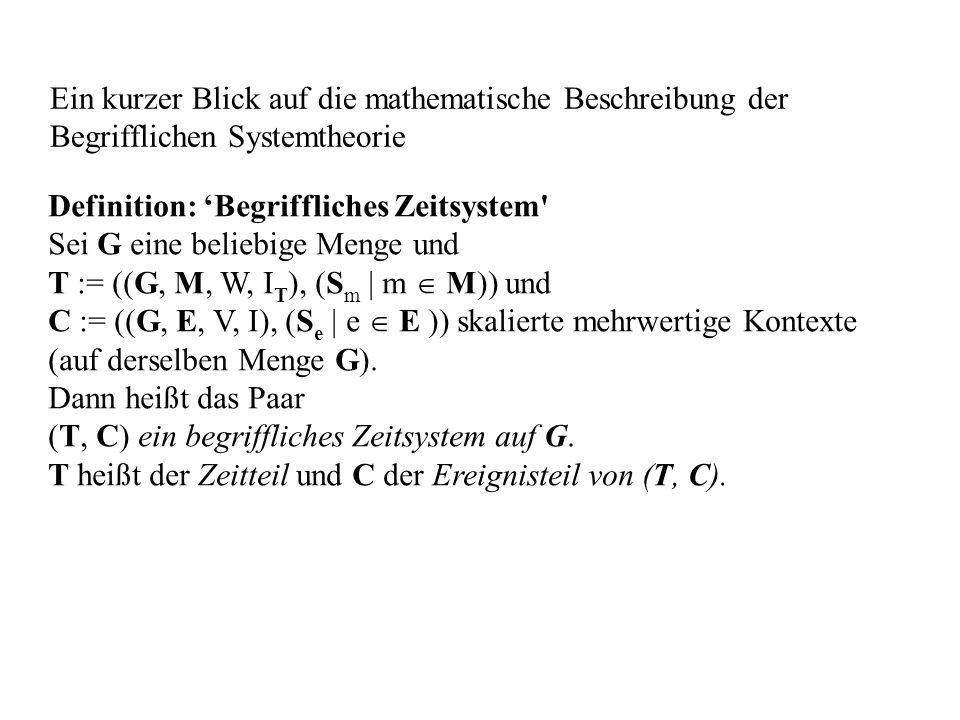 Ein kurzer Blick auf die mathematische Beschreibung der Begrifflichen Systemtheorie Definition: Begriffliches Zeitsystem' Sei G eine beliebige Menge u