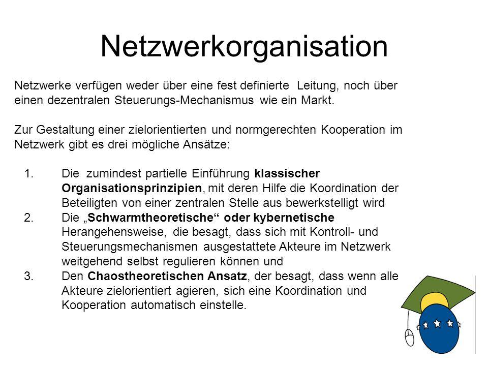 10 Netzwerkorganisation Netzwerke verfügen weder über eine fest definierte Leitung, noch über einen dezentralen Steuerungs-Mechanismus wie ein Markt.