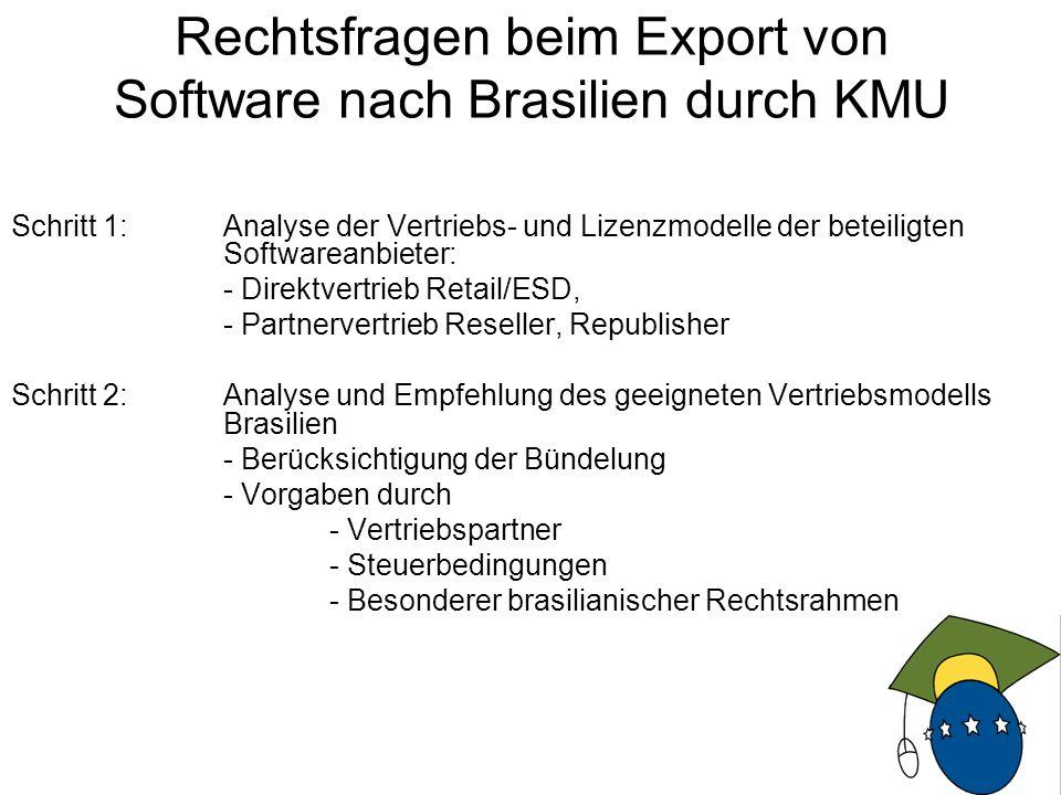 14 Schritt 1: Analyse der Vertriebs- und Lizenzmodelle der beteiligten Softwareanbieter: - Direktvertrieb Retail/ESD, - Partnervertrieb Reseller, Republisher Schritt 2: Analyse und Empfehlung des geeigneten Vertriebsmodells Brasilien - Berücksichtigung der Bündelung - Vorgaben durch - Vertriebspartner - Steuerbedingungen - Besonderer brasilianischer Rechtsrahmen Rechtsfragen beim Export von Software nach Brasilien durch KMU