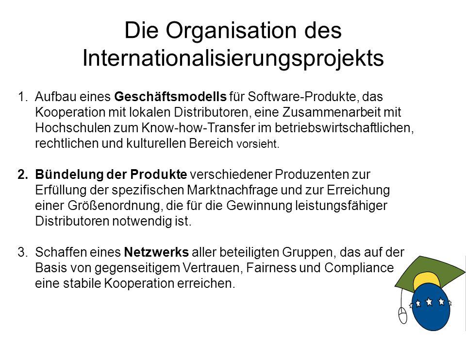 9 Die Organisation des Internationalisierungsprojekts 1.Aufbau eines Geschäftsmodells für Software-Produkte, das Kooperation mit lokalen Distributoren, eine Zusammenarbeit mit Hochschulen zum Know-how-Transfer im betriebswirtschaftlichen, rechtlichen und kulturellen Bereich vorsieht.