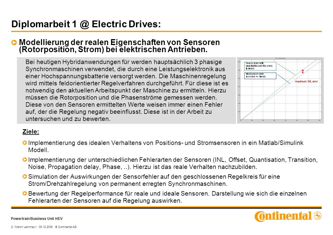 Powertrain Business Unit HEV 2 / Martin Lachmayr / 09.12.2009 © Continental AG Diplomarbeit 1 @ Electric Drives: Modellierung der realen Eigenschaften