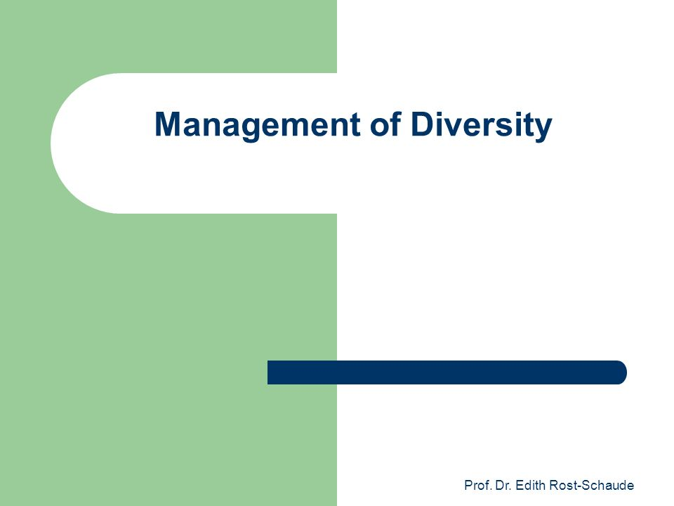 Prof. Dr. Edith Rost-Schaude Management of Diversity
