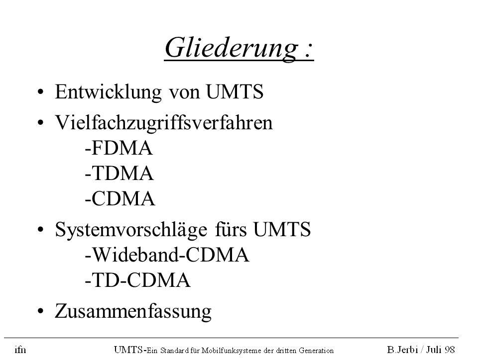 Gliederung : Entwicklung von UMTS Vielfachzugriffsverfahren -FDMA -TDMA -CDMA Systemvorschläge fürs UMTS -Wideband-CDMA -TD-CDMA Zusammenfassung
