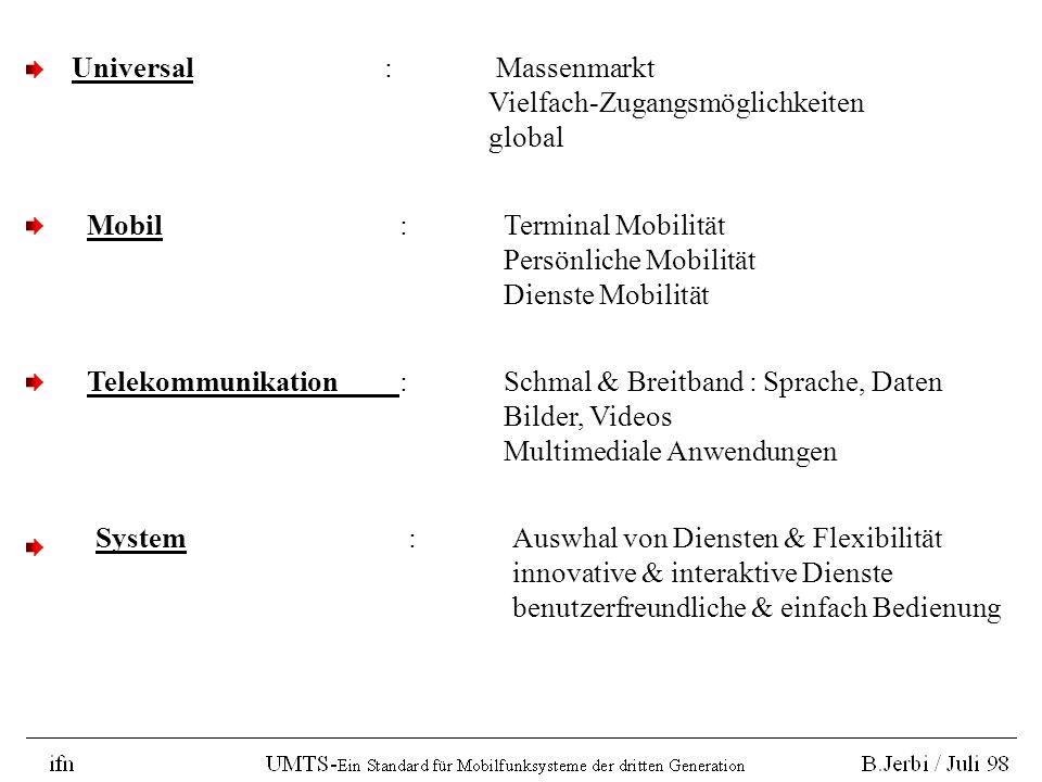 Zielsetzungen vom UMTS : UMTS ist der europeische Vorschlag (ETSI) für ein System der dritten Generation -IMT 2000 Familie-, laut Richtlinien der ITU.
