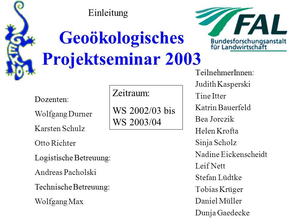 Geoökologisches Projektseminar 2003 TeilnehmerInnen TeilnehmerInnen: Judith Kasperski Tine Itter Katrin Bauerfeld Bea Jorczik Helen Krofta Sinja Schol
