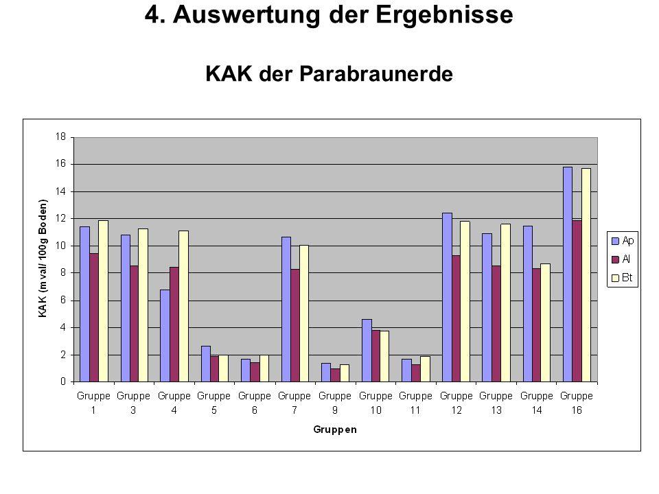 4. Auswertung der Ergebnisse KAK der Parabraunerde