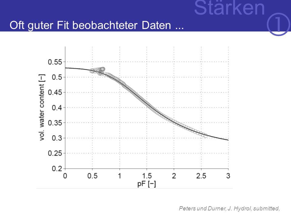 Oft guter Fit beobachteter Daten... Stärken Peters und Durner, J. Hydrol, submitted,