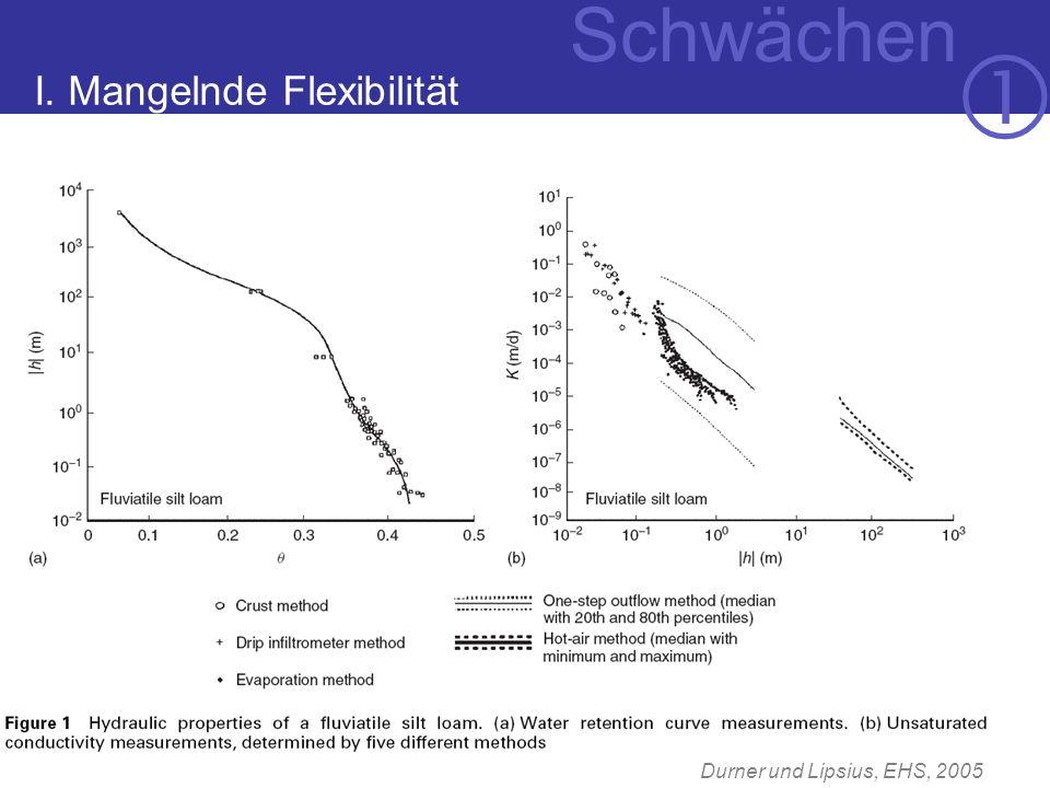 I. Mangelnde Flexibilität Durner und Lipsius, EHS, 2005 Schwächen