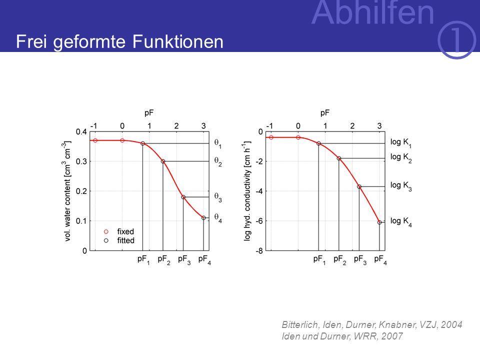 Abhilfen Bitterlich, Iden, Durner, Knabner, VZJ, 2004 Iden und Durner, WRR, 2007 Frei geformte Funktionen