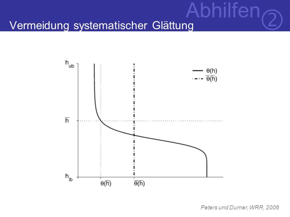 Vermeidung systematischer Glättung Peters und Durner, WRR, 2006 Abhilfen