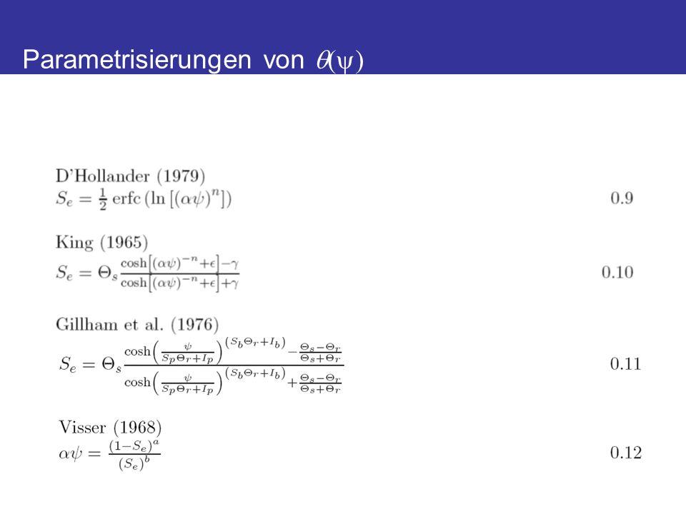 Mualemsche K-Vorhersage *derived by a neural network prediction with the program Rosetta (Schaap et al., 2001) Durner und Flühler, EHS, 2005 Leitfähigkeitsfunktion
