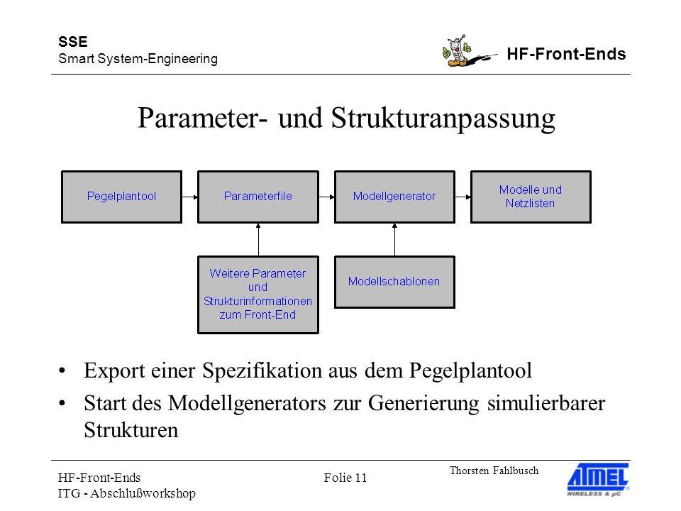 SSE Smart System-Engineering HF-Front-Ends Thorsten Fahlbusch HF-Front-Ends ITG - Abschlußworkshop Folie 11 Parameter- und Strukturanpassung Export einer Spezifikation aus dem Pegelplantool Start des Modellgenerators zur Generierung simulierbarer Strukturen